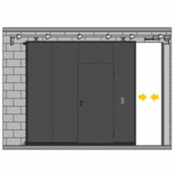 Puerta corredera con peatonal incorporada