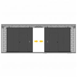 Puerta corredera 2 hojas con peatonal incorporada