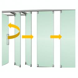 Tabique móvil vidrio con puerta 1