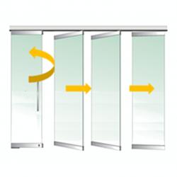 Tabique móvil vidrio con puerta 3