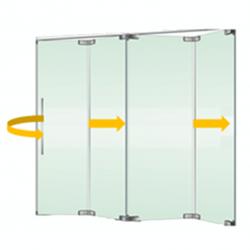 Tabique móvil vidrio plegable con puerta 1