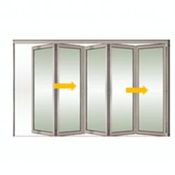 Tabique móvil vidrio plegable 2
