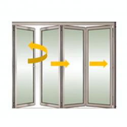 Tabique móvil vidrio plegable con puerta 2