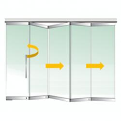 Tabique móvil vidrio plegable con puerta 3