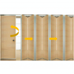 Tabique móvil madera con puerta 2