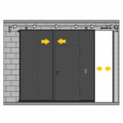Puerta corredera telescópica con peatonal incorporada