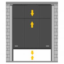 Puerta de guillotina telescópica