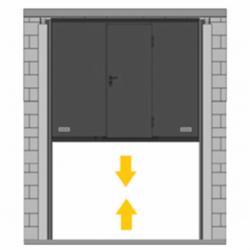 Puerta de guillotina con peatonal incorporada