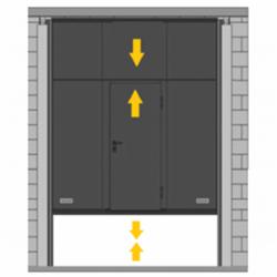 Puerta de guillotina telescópica con peatonal incorporada